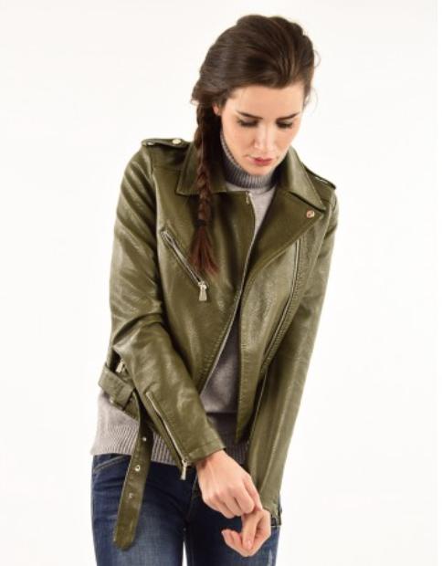 Veste simili-cuir poches à zippe